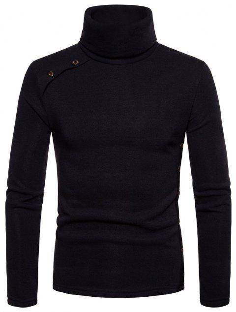 Bottoming Shirt Slim Men's High Collar Solid Color Sweater - BLACK 2XL