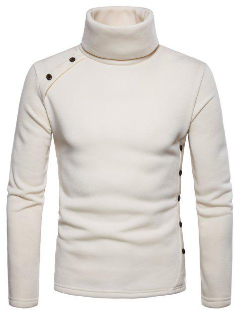 Bottoming Shirt Slim Men's High Collar Solid Color Sweater - BEIGE XL