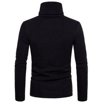 Bottoming Shirt Slim Men's High Collar Solid Color Sweater - BLACK M