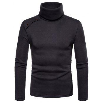 Bottoming Shirt Slim Men's High Collar Solid Color Sweater - CARBON GRAY XL