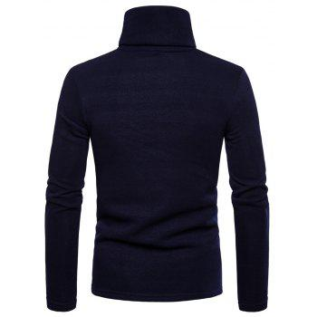 Bottoming Shirt Slim Men's High Collar Solid Color Sweater - CADETBLUE XL