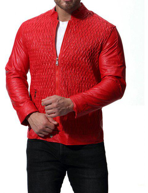 Men's High Quality Design Leather Jacket - RED XL