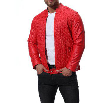 Men's High Quality Design Leather Jacket - RED L