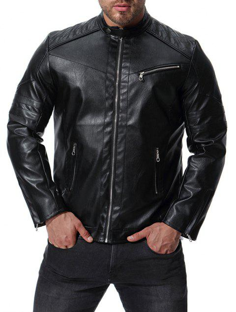 Men's High Quality Design Fashion Motorcycle Leather Collar Leather jacket - BLACK L