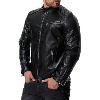 Men's High Quality Design Fashion Motorcycle Leather Collar Leather jacket - BLACK M