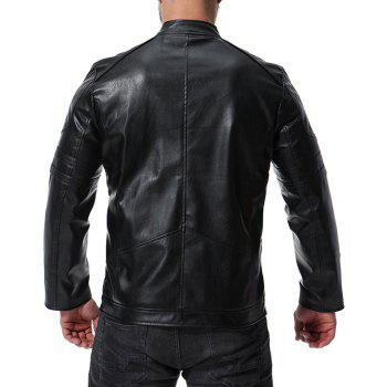 Men's High Quality Design Fashion Motorcycle Leather Collar Leather jacket - BLACK XL