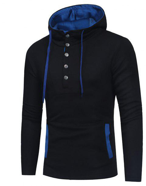Men's Fashion Button Stitching Hit Color Hooded Long-Sleeved Slim Sweater - BLACK M