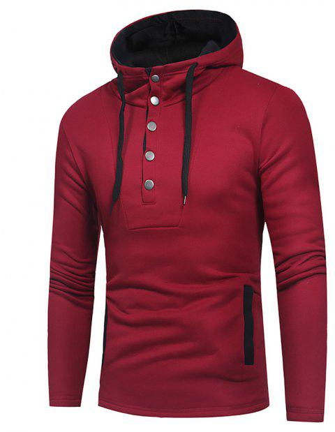 Men's Fashion Button Stitching Hit Color Hooded Long-Sleeved Slim Sweater - RED WINE M
