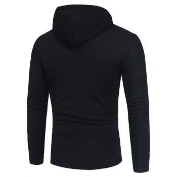 Men's Fashion Button Stitching Hit Color Hooded Long-Sleeved Slim Sweater - BLACK L
