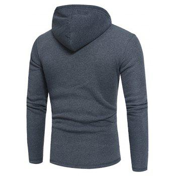 Men's Fashion Button Stitching Hit Color Hooded Long-Sleeved Slim Sweater - GRAY M