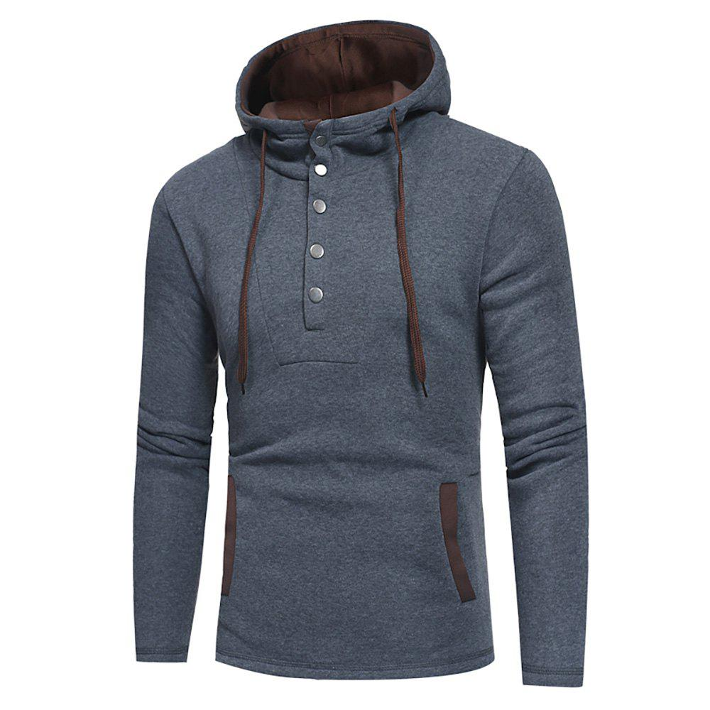 Men's Fashion Button Stitching Hit Color Hooded Long-Sleeved Slim Sweater - GRAY L