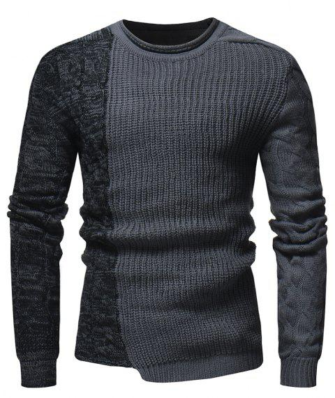 Men's Fashion Round Neck Personality Color Matching Wild Pullover Slim Sweater - GRAY XL