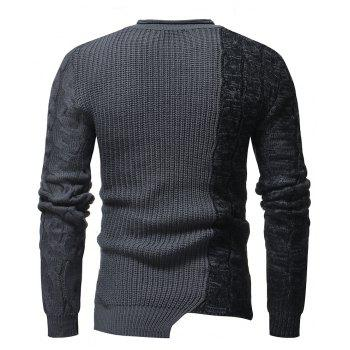 Men's Fashion Round Neck Personality Color Matching Wild Pullover Slim Sweater - GRAY M