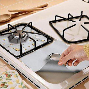 Non-stick Foil Gas Range Stove Top Burner Protector Liner Cover Reusable - SILVER