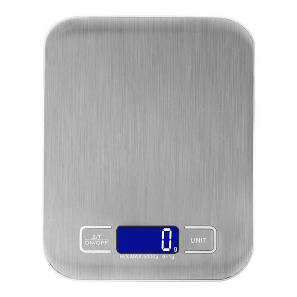 5KG Stainless Steel Digital LCD Electronic Kitchen Cooking Food Weighing Scale - SILVER