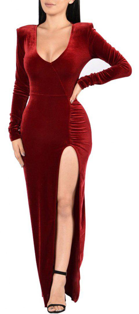 Women's Deep V-neck Long Sleeve Solid Color High Split Suede Maxi Dress - RED WINE 2XL