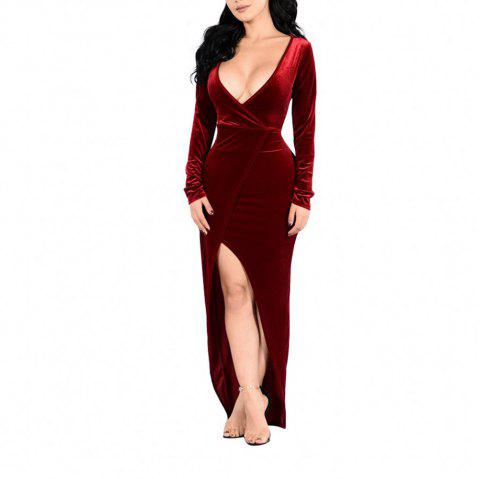Women's Long Sleeve Deep V-neck Solid Color Split Sexy Suede Long Dress - RED WINE L