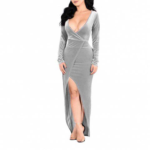 Women's Long Sleeve Deep V-neck Solid Color Split Sexy Suede Long Dress - PLATINUM S