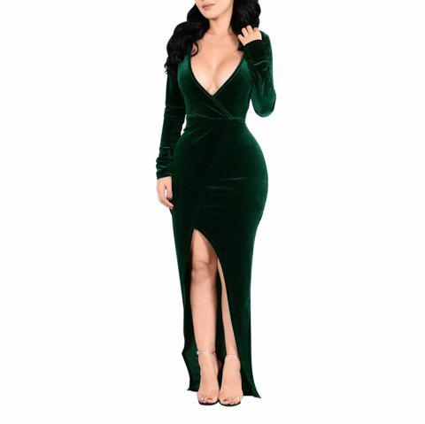 Women's Long Sleeve Deep V-neck Solid Color Split Sexy Suede Long Dress - DARK GREEN S