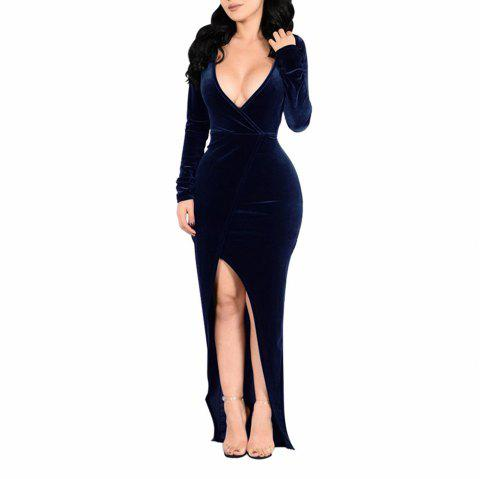 Women's Long Sleeve Deep V-neck Solid Color Split Sexy Suede Long Dress - DEEP BLUE L