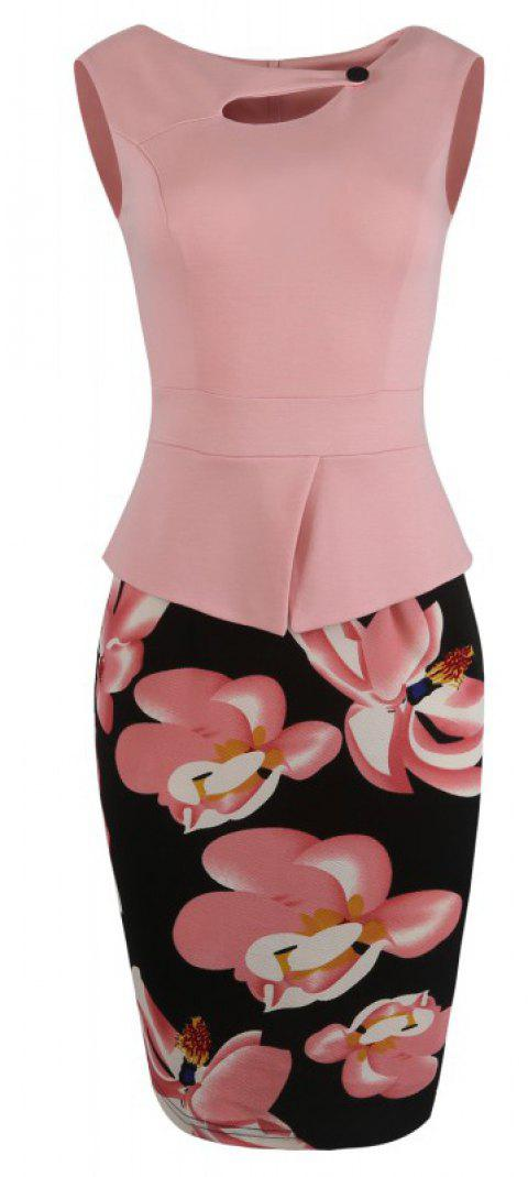 Lady's Sleeveless One Button Decorated Color Block Office Workwear Pencil Dress - PINK L