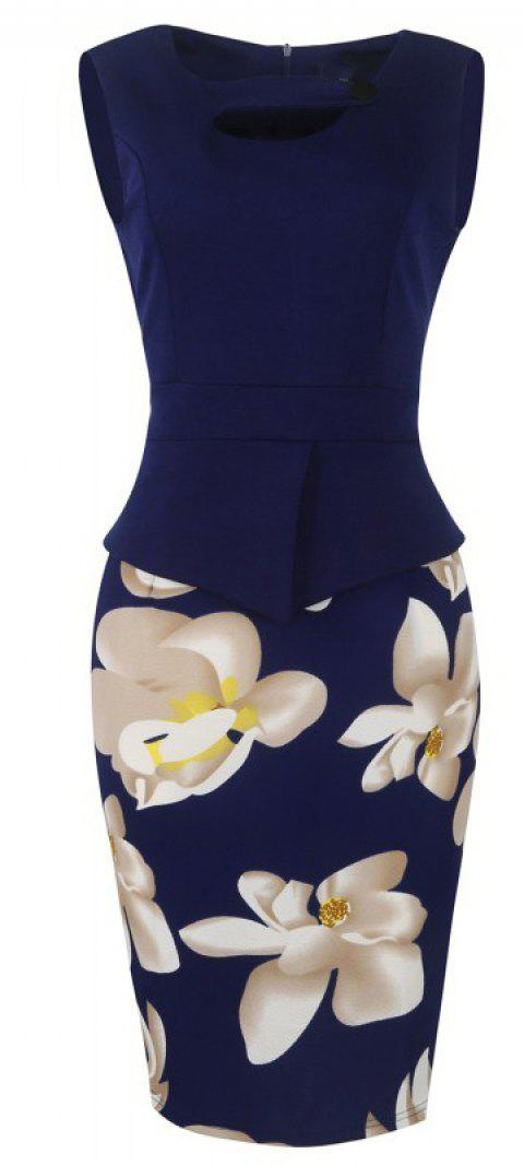 Lady's Sleeveless One Button Decorated Color Block Office Workwear Pencil Dress - CADETBLUE L