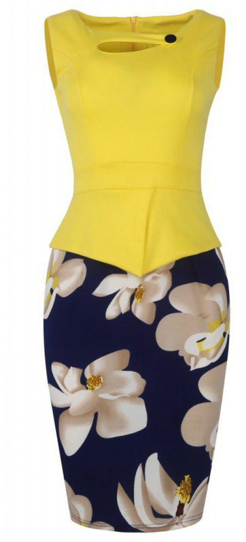 Lady's Sleeveless One Button Decorated Color Block Office Workwear Pencil Dress - YELLOW XL