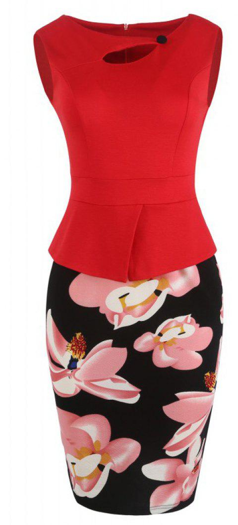 Lady's Sleeveless One Button Decorated Color Block Office Workwear Pencil Dress - RED L