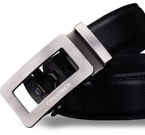 COWATHER CZ012 Automatic Buckle Casual Leather Simple Business Men'S Belt - BLACK 125CM