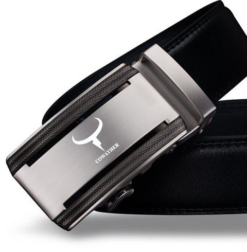 COWATHER CZ008 Leather Automatic Buckle Business Men'S Casual Belt - BLACK 110CM