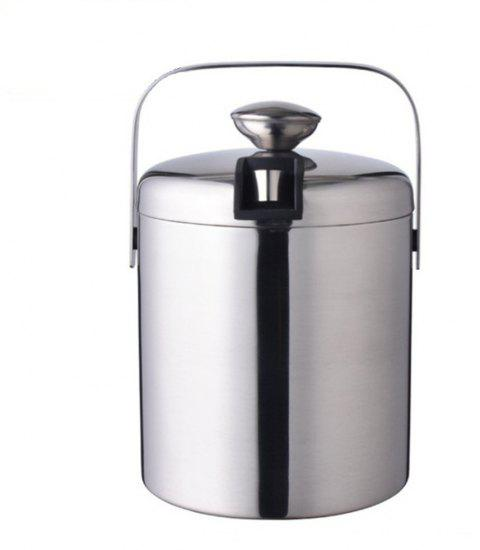 Large 1.3L Insulated Double Walled Stainless Steel Ice Bucket With Tongs and Lid - PLATINUM