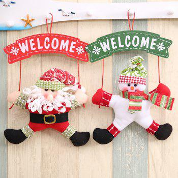 Christmas Decoration Cloth Art Welcome Hanging - multicolor B 21*6*33CM