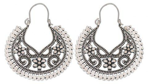 Dangle  Hollow Out Round Shape Vintage Earrings - WHITE