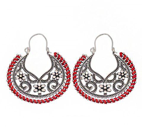 Dangle  Hollow Out Round Shape Vintage Earrings - RED
