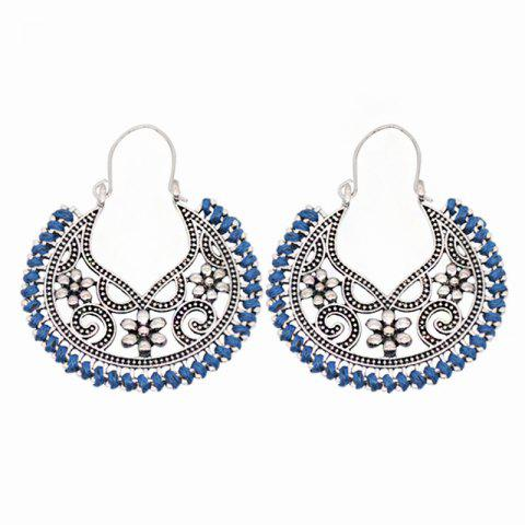 Dangle Hollow Out Round Boucles d'Oreilles Vintage - Bleu