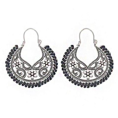 Dangle  Hollow Out Round Shape Vintage Earrings - BLACK
