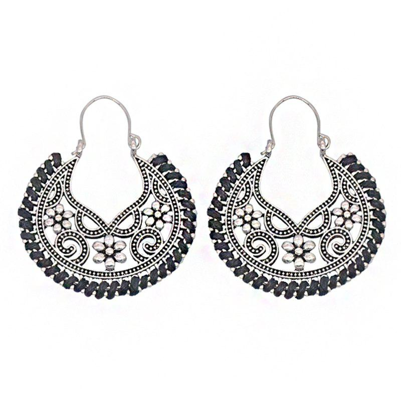 Dangle Hollow Out Round Boucles d'Oreilles Vintage - Noir