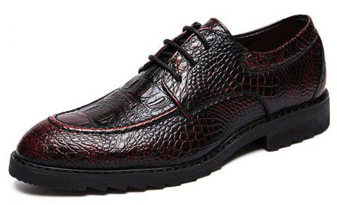 Men Fashion Solid Lace-up Formal Leather Shoes - RED WINE EU 44