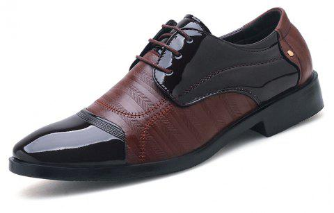 Plus Size Men Shining Upper Lace up Leather Shoes - BROWN EU 39