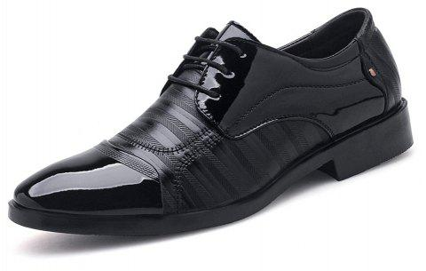 Plus Size Men Shining Upper Lace up Leather Shoes - BLACK EU 47