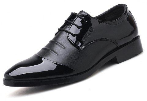 Men Plus Size Shining Upper Lace up Fashion Leather Shoes - BLACK EU 45