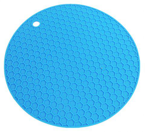 Honeycomb Silicone Pad Round Mat Heat Insulation - DAY SKY BLUE 18*18*0.3CM