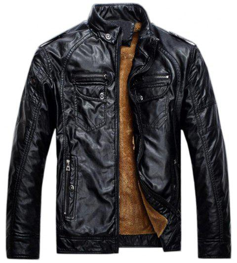 Men's Casual Winter Fleece Leather Jacket Solid Stand Long Sleeve PU Coat - BLACK 2XL