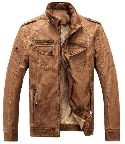 Men's Casual Winter Fleece Leather Jacket Solid Stand Long Sleeve PU Coat - CAMEL BROWN XL