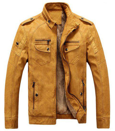 Men's Casual Winter Fleece Leather Jacket Solid Stand Long Sleeve PU Coat - FALL LEAF BROWN L