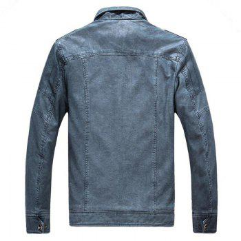 Men's Casual Winter Fleece Leather Jacket Solid Stand Long Sleeve PU Coat - BLUE GRAY XL