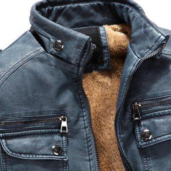 Men's Casual Winter Fleece Leather Jacket Solid Stand Long Sleeve PU Coat - BLUE GRAY 2XL