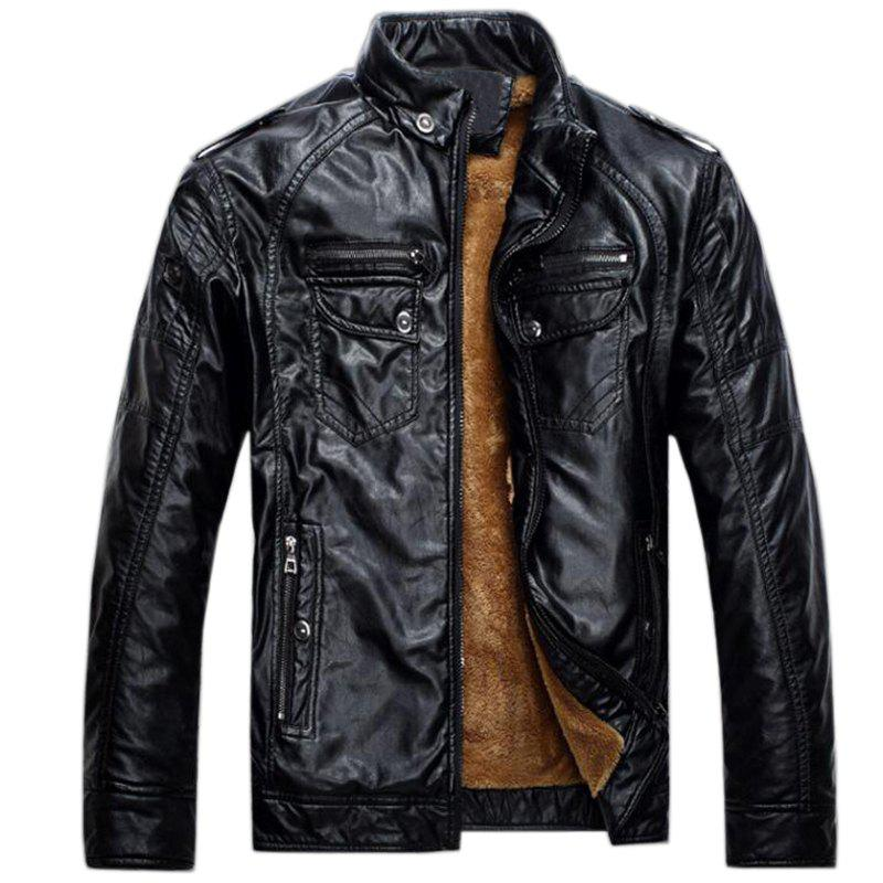 Men's Casual Winter Fleece Leather Jacket Solid Stand Long Sleeve PU Coat - BLACK 3XL