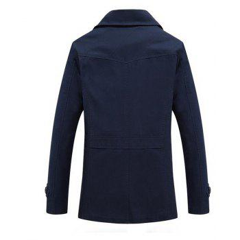 Men's Casual Stripe Design Shoulder Straps Long Sleeve Fashion Jacket - MIDNIGHT BLUE XL