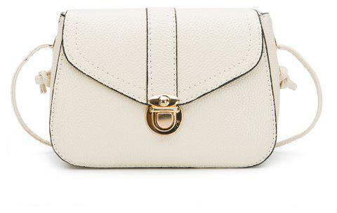 Lychee Stripes  Folding  Lock Lady'S Satchel Crossbody Bag - WHITE
